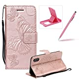 Strap Leather Case for iPhone XS/iPhone X,Wallet Leather Case for iPhone XS/iPhone X,Herzzer Premium Stylish Pretty 3D Rose Gold Butterfly Printed Bookstyle Magnetic Full Body Soft Rubber Flip Portable Carrying Stand Case with Card Holder Slots