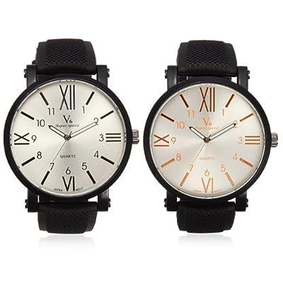 V6 Men Fashion Sports Round Quartz Silicone Simple Style Watch.