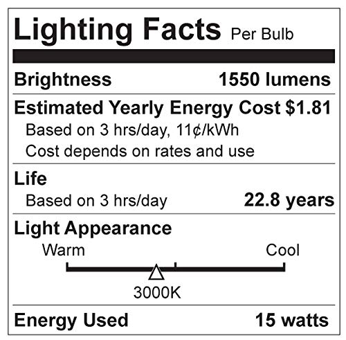 Great Eagle 100W Equivalent LED Light Bulb 1550 Lumens A19 3000K Soft White Non-Dimmable 15-Watt UL Listed (6-Pack)