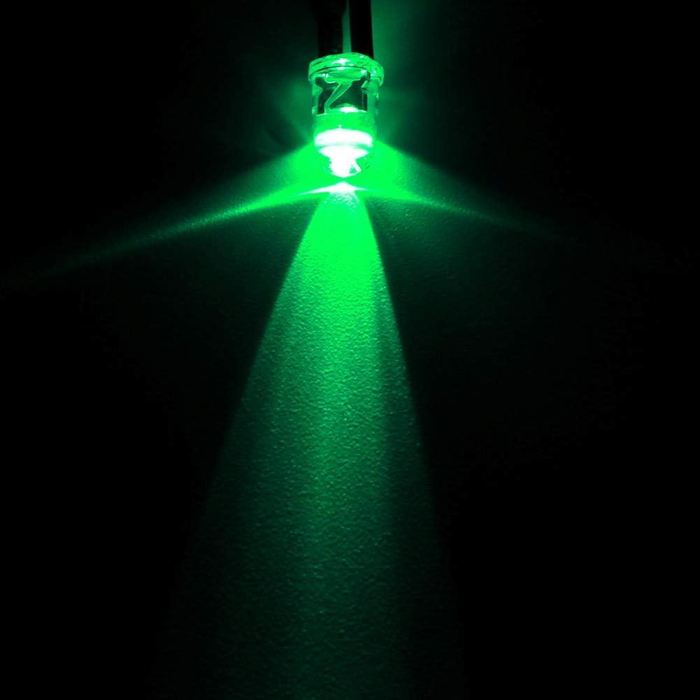 Iluminaci/ón del Autom/óvil Diodo Emisor de Luz LED de 12 V con Kit de Cables 5 mm Cabezal Redondo Luces de Luces Bolas Luz Verde Esmeralda para el Hogar