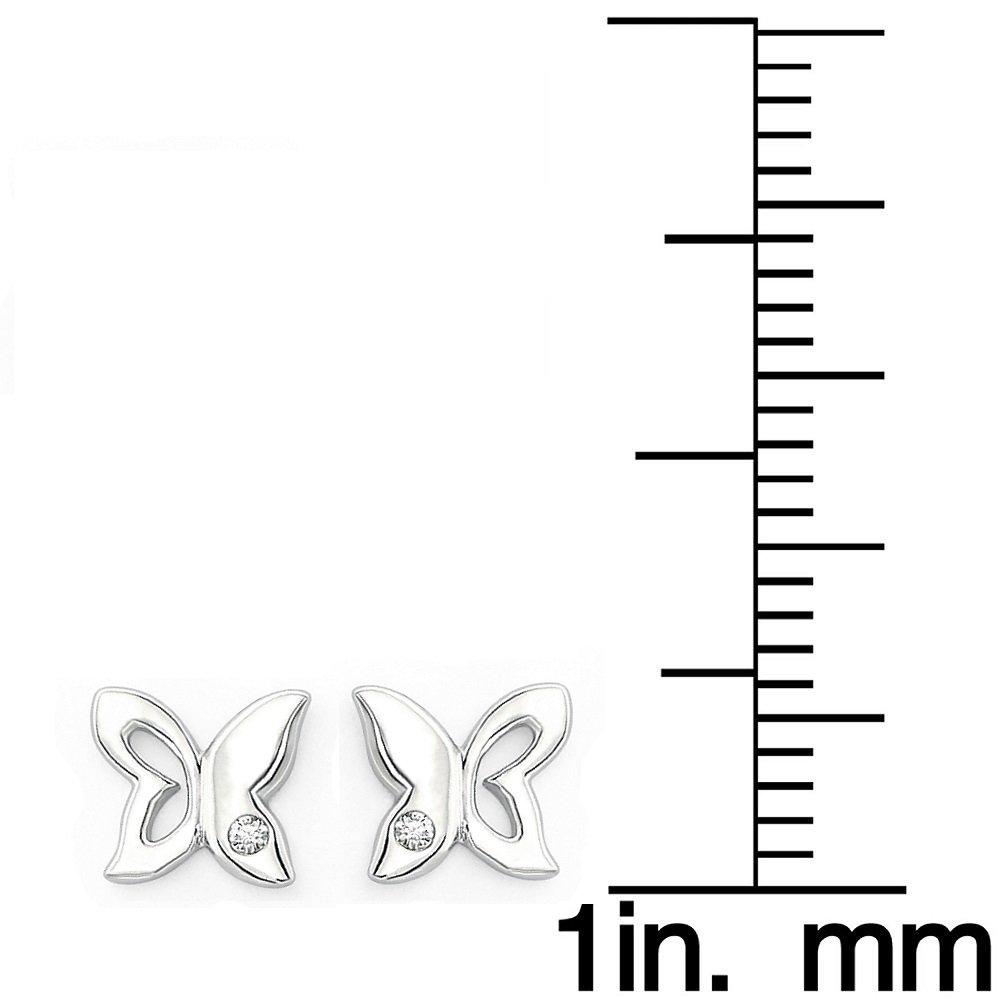 Little Diva Diamonds 925 Sterling Silver Diamond Accent Butterfly Stud Earrings for Girls