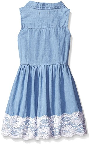 True Meaning Nice Big Girls Denim and Lace Sundress, Light Wash, 7