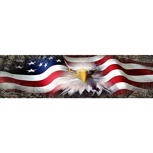 RUNMIND American Flag Eagle Decal Rear Window Tint GraphicWrap Back Truck Tailgate For Most Pick Up Trucks 65 x (Truck Window Tints)