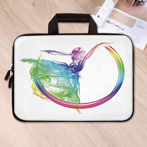 - Abstract Home Decor Large Capacity Neoprene Laptop Bag,Smoke Dance Shape Silhouette of Dancer Ballerina Rainbow Colors Fantasy Decorative for 10 Inch to 17 Inch Laptop,8.7''L x 11''W x 0.8''H