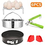 Accessories for Instant Pot Set, Vegetable Steamer Basket, Egg Steamer Rack, Non-stick Springform Pan, Bowl Dish Clip and a pair of Silicone Cooking Pot Oven Mitts(6 Pieces)