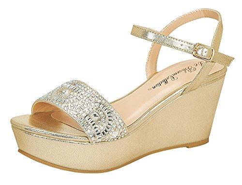 Women's Ori-3 Sparkle Rhinestone Ankle Strap Dress Platform Wedge Sandals Gold 11
