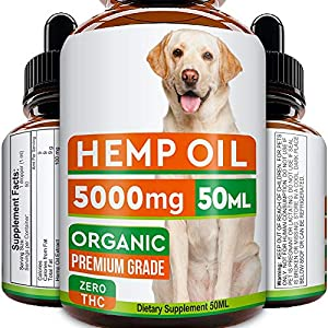 GOODGROWLIES Hemp Oil for Dogs and Cats – 5000MG – 50ml – Hemp Extract Made in UK – 100% Natural Hemp Oil for Pets…