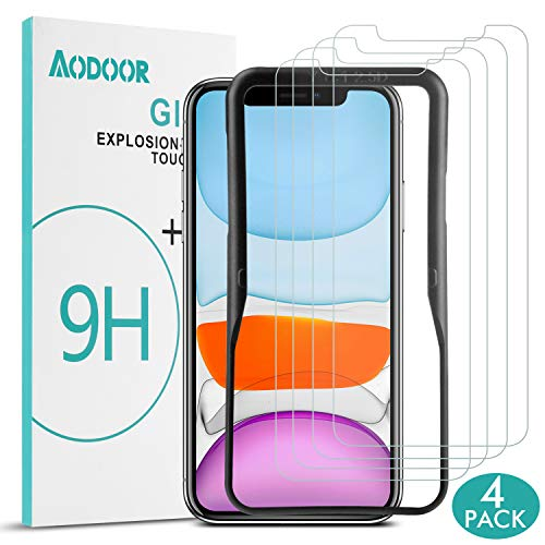 Aodoor Screen Protector for iPhone 11/iPhone XR 6.1 inch 4 Pack Tempered Glass Film Compatible with iPhone 11 Anti-Scratch, Advanced HD Clarity, Easy Installation Alignment Frame