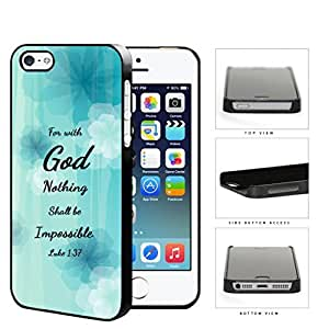 Luke 1:37 Bible Verse Light Blue Pastel Background with White/Blue Flowers Case For Iphone 6 4.7 Inch Cover Hard Snap on Plastic Cell Phone