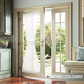 Amazon Com Sheer Voile Inch French Door Curtain Panel White