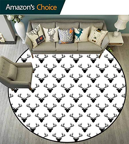 Deer Round Rug Nonslip pad,Pattern with Deer Heads Silhouettes Horn Curvy Wildlife Forest Creative Design Print Suitable for Bedroom Home Decor,Black White,D-63