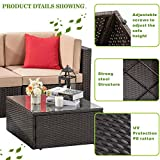 Vongrasig 5 Pieces Patio Furniture Set, All-Weather Outdoor Small Sectional Patio Sofa Set, Wicker Rattan Patio Sofa Couch Conversation Set w/Ottoman, Glass Table, Beige Cushions & Red Pillow, Brown