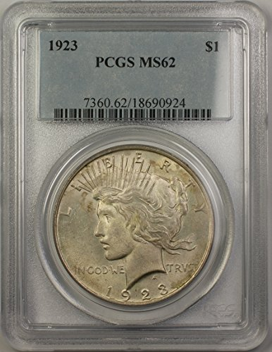 1923 Peace Silver Dollar Coin (ABR14-A) $1 MS-62 PCGS