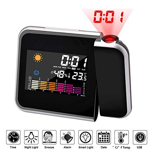 UYKIKUI Digital Alarm Clock Alarm Clock Projector Ceiling/Wall Clock Digital Clocks with Colorful LCD Display Weather Station Thermometer Hygrometer Functions