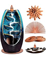 XinXu Incense Burner,5 in 1 Ceramic Backflow Waterfall Incense Holder with 170 Incenses, Aromatherapy Ornament Home Decor with 120 Cones,30 Stick,20 Coil Incense,3 Artificial Lotus Leaf,1 Cushion