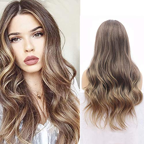Suri Hair Long Ombre Brown High Density Temperature Synthetic Wig Women Glueless Wavy Cosplay Hair Wig