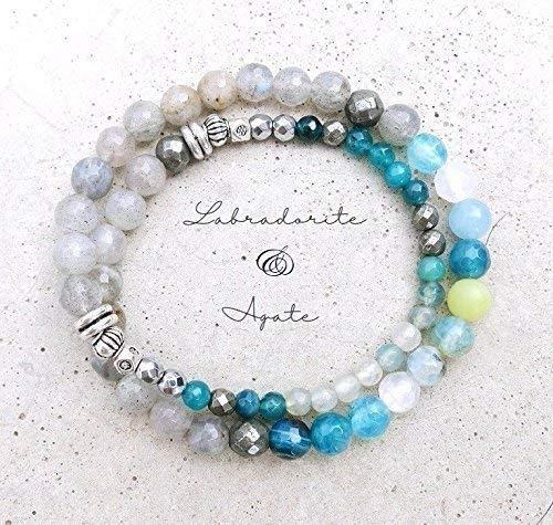 - Labradorite, Pyrite + Agate Natural Stones Double Strand Bracelet | Natural Stones Blue Bracelet | Labradorite Bracelet