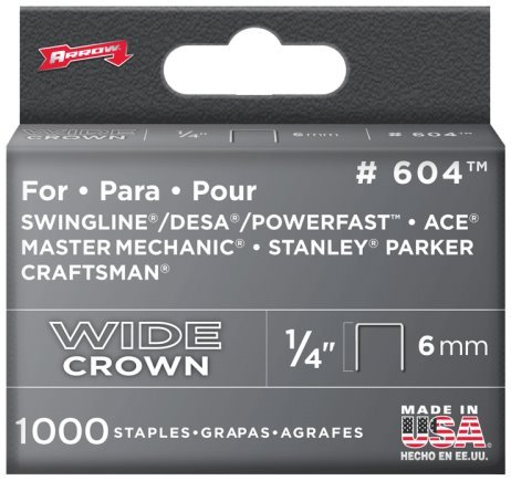 "Arrow Fastener 60430 1/4"" Heavy Duty Wide Crown Staples"