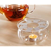 DecentGadget® High Heat Resistant Borosilicate Glass Teapot Warmer With Tealight Candle (Rounded)