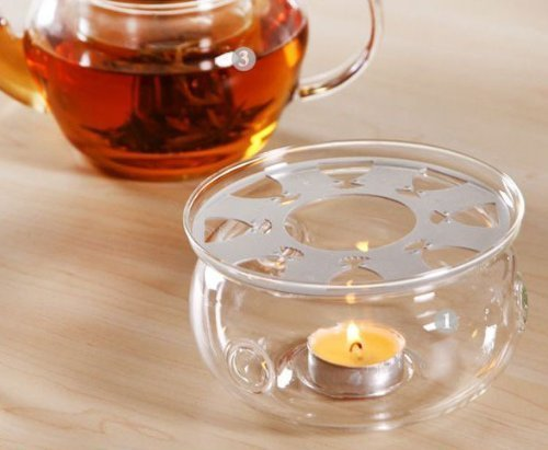 DecentGadget High Heat Resistant Borosilicate Glass Teapot Warmer With A Candle As A Gift (teapot warmer)