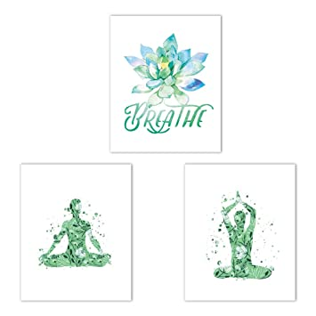 CRPBKU Yoga Pose Poster Art Print 3 Piece Set (10