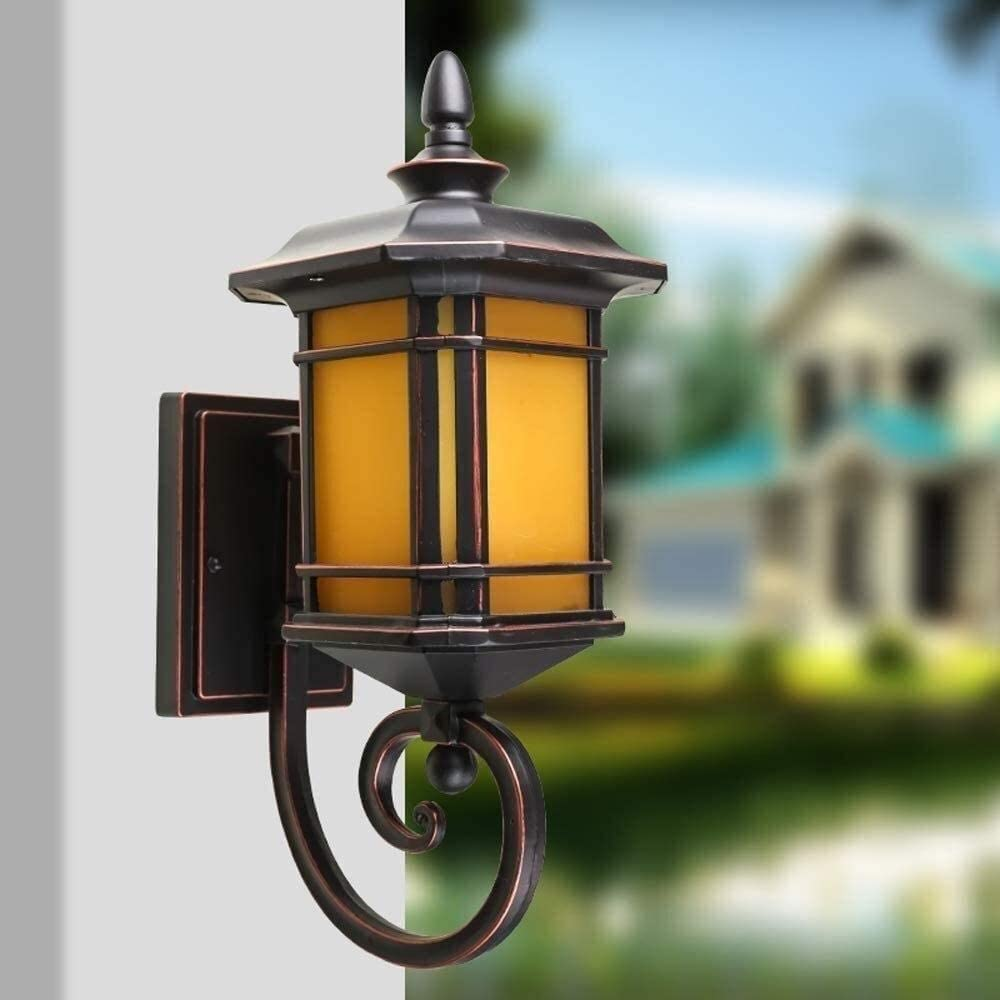 Qyyrr Antique Victoria Glass Wall Lantern Vintage Continental Wall Spotlights Garden Gate Fence Outdoor Waterproof IP54 Wall Light American Style Aluminium E27 Fixture Wall Sconce
