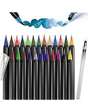 TFHEEY Watercolor Brush Pens, Marker Pens 20 Watercolor Markers and 1 Water Brush for Coloring Draw Comic Calligraphy Lettering Design (20+1)