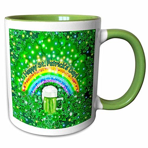 3dRose Dream Essence Designs-Holidays - Digital Art St. Patricks Mug of Guinness Beer, Rainbow and Shamrocks- Green - 11oz Two-Tone Green Mug (mug_237252_7)
