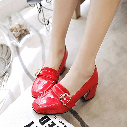 Mee Shoes Damen chunky heels Lackleder slip on Pumps Rot