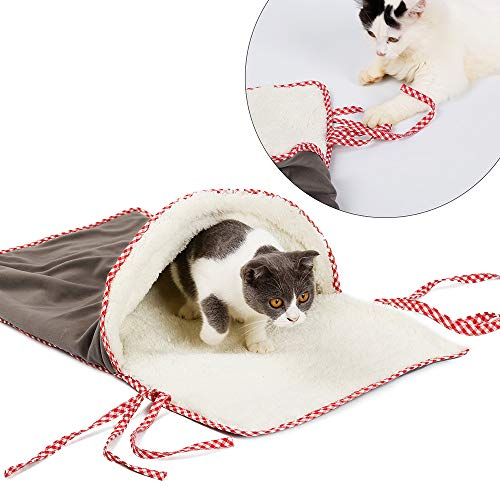 DENTRUN Cat Playing Tunnel Sleeping Bag Pet Bed Soft Warm Windproof,Dog Kitten Indoor Collapsible Exercise Tube, Durable Comfortable Hideaway Friendly Fun Kittens, Kittens Puppy Burrow Cave ()