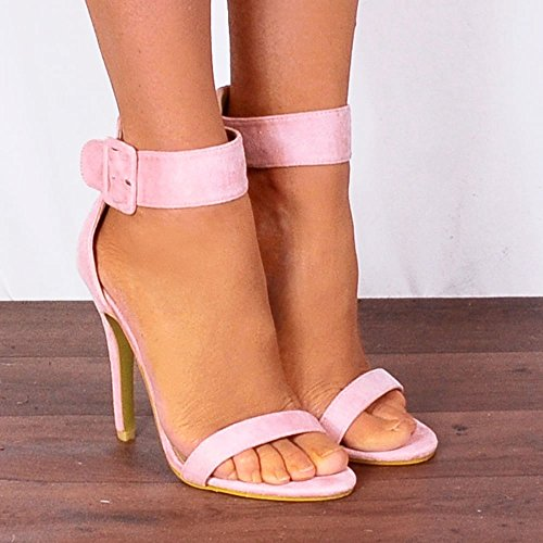 Toes Heels Schuhschrank Riemchensandalen Light Pink Damen High Knöchelriemen Baby Peep Stilettos BwCHPB