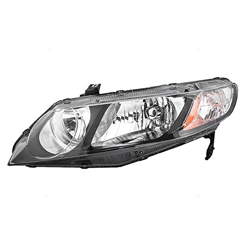 (06-11 Honda Civic Sedan Drivers Headlight Unit Left Headlamp w/Clear Park Lens 33151SNCA01)