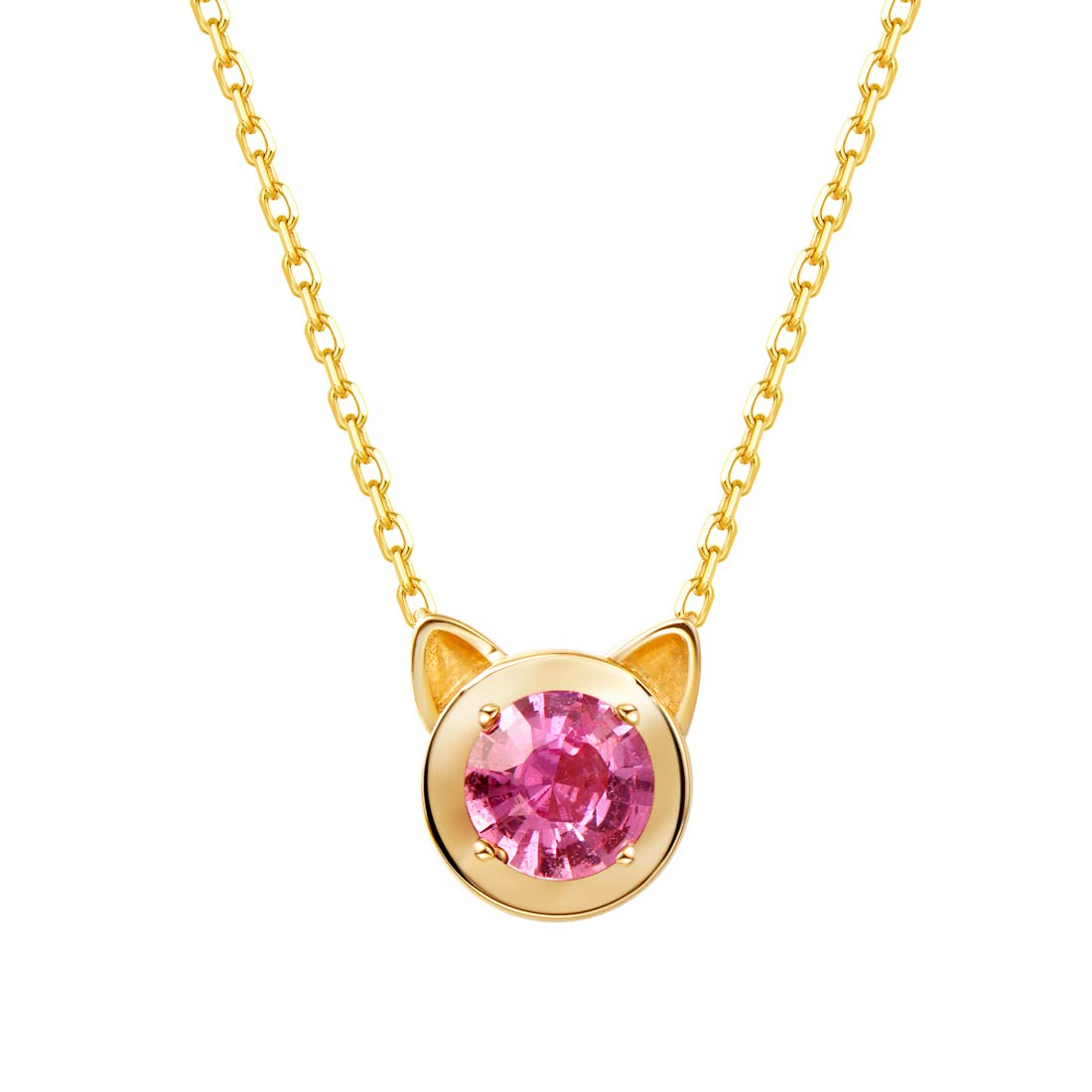 Carleen 14k Solid Yellow Gold Round Garnet/Pink Sapphire/Morganite/Amethyst/Topaz Cat Ear Pendant Kitty Necklace For Women Girls, 16