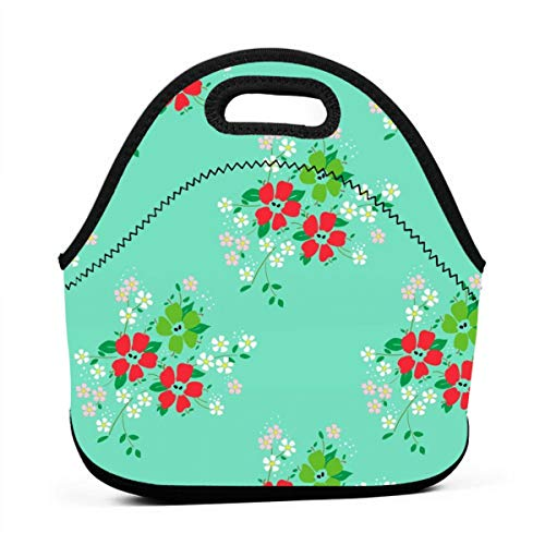 Apple-Cherry-mint-green_1955 Waterproof Insulated Lunch Portable Carry Tote Picnic Storage Bag Lunch box Food Bag Gourmet Handbag For School Office ()