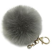 SUPPION Faux Rabbit Fur Fluffy Ball Keychain Women Handbag Charms Key Ring