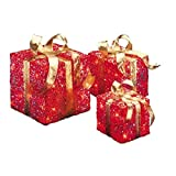 Set of 3 Red and Gold Colored Christmas Decorative Gift Boxes Table Toppers - Clear Lights 10''