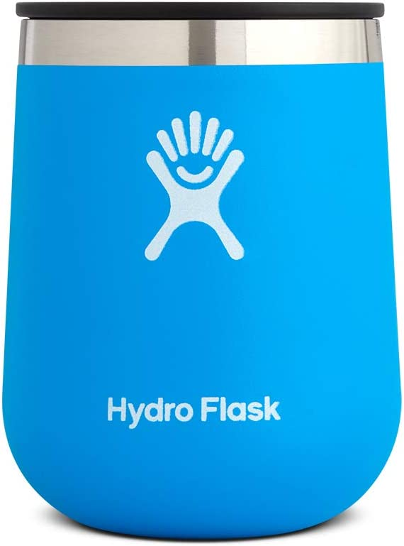 Hydro Flask 10 oz Wine Tumbler - Stainless Steel & Vacuum Insulated - Press-In Lid - Pacific