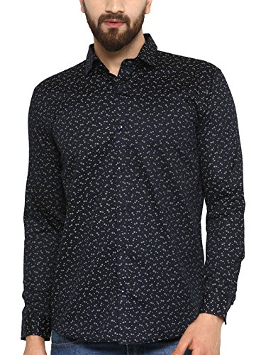 BEING FAB Men #39;s Printed Casual Navy Blue Shirt…