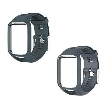 Keweni Correas de silicona para reloj Tom Tom Runner 3/Spark, Rock blue& Grey