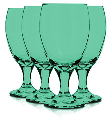 Libbey 6 Piece Goblet Party Glass, 16.25-Ounce Full Aqua Color Additional Vibrant Colors Available by TableTop King