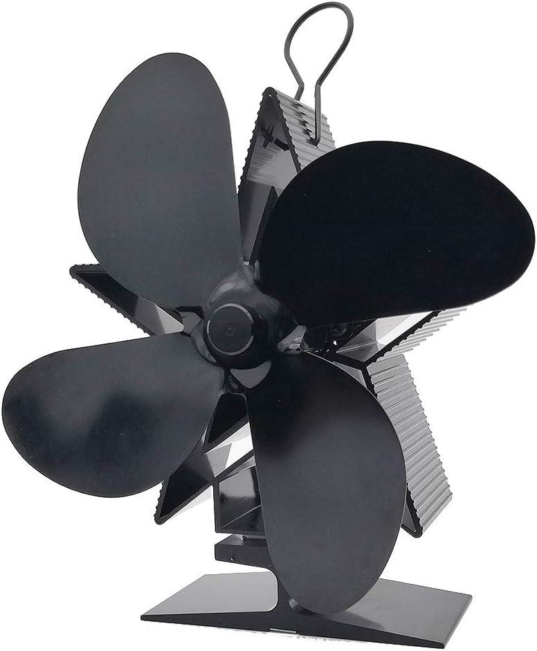ONGLOLH Ventilador de Chimenea de leña 4 Cuchillas Eficiente del Calor accionado Ventilador de Estufa Eco Friendly eficiente Estufa de distribución de Calor del ventilado,Black-L15CM*W9CM*H18CM