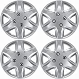 Hub-Caps for Select Chevy Aveo (Pack of 4) 14 Inch Silver Wheel Covers