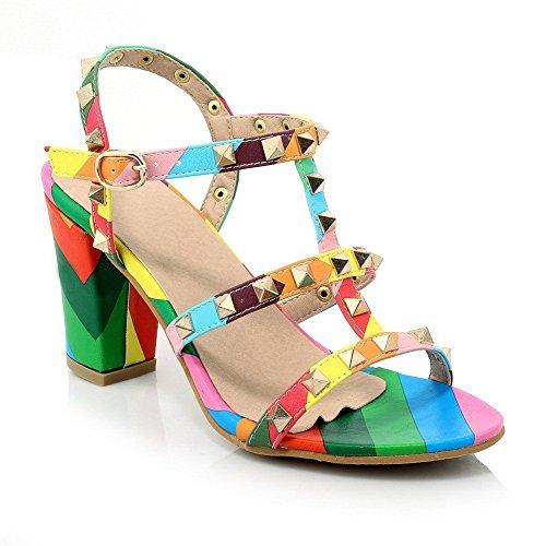 AllhqFashion Mujeres Hebilla Puntera Abierta Tacón ancho Pu Colores Surtidos Sandalia Varios Colores