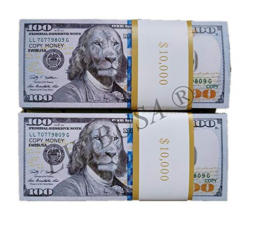 EWIBUSA Prop Money Pretend Total $10,000 of $100X100 Pcs Reproduction Monay , Replica Monay,Copy Money Double-Sided Printing - for Movie, TV, Videos Magic Stage Tools