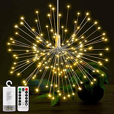 LED String Lights? Battery Operated Hanging Starburst Lights with 150LEDS, 8 Modes Dimmable with Remote Control, IP65 Waterproof, Decorative Copper Wire Lights for Parties. (Warm White)