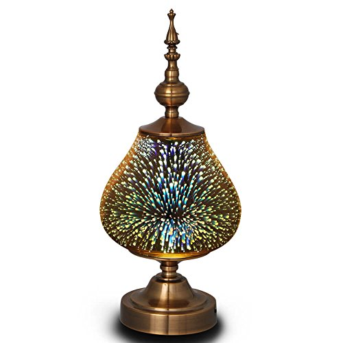 MELLER Table Lamp, Turkish Light,Arabian Lamps with Handmade 3D Effect Glass and Bronze Base - Perfect for Table in Bedroom,Bedside,Living Room,Office by MELLER