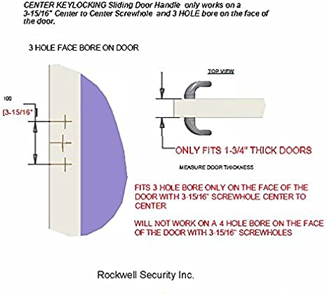 Mortise Lock and Keeper Included Rockwell Sonoma Sliding Glass Door Handle Set in White Finish with Center Keylock only fits 1-3//4 Thick Doors with 3 Hole Bore