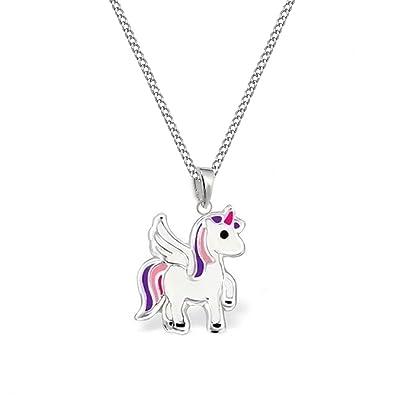 80adc1fdfb650 GH   Kl - Dije de unicornio y cadena de plata de ley 925 para niña ...