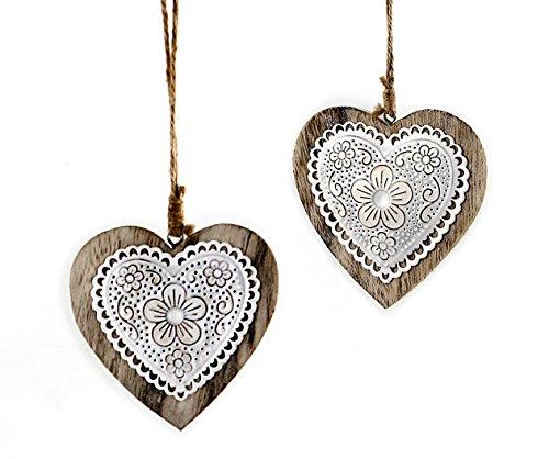 2x Deko Hänger Herz Herzchen aus Holz mit Metall Blumen Stanzung im Vintage Style, weiß braun 10x10 cm zum Hängen, Fensterschmuck Dekohänger