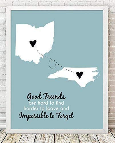 Going Away Paper Art Print | Long Distance Map Gift | Unique Friend Gift | Personalized Going Away | Best Friend Gift | Best Friend Long Distance Map | Graduation Gift for Friend | BFF Gift (Best Print Poster Friend)